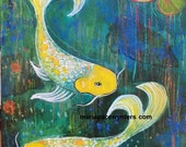 Yellow Koi Original mixed media painting by Maria Pace-Wynters