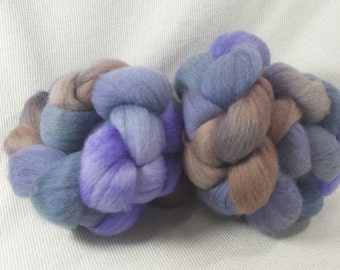 NEW Yarn Hollow Hand Dyed Polworth Top Blueberry Sheen OOAK Multi Color
