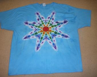 4X tie dye tshirt blue mandala star design
