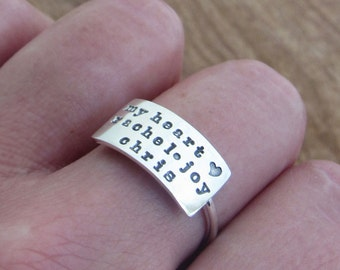 Half Wide Band Ring Custom Name Ring Sterling Silver Personalized Hand Stamped Mothers Ring My Heart
