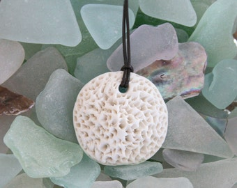 Porcelain Coral Pendant Necklace with Leather Cord - Long Ceramic Necklace - Summer Necklace