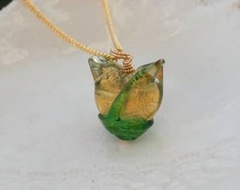Glass Tulip Necklace in Venetian Glass