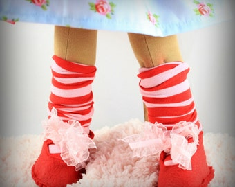 "Waldorf felt doll shoe and socks!! Wool/rayon Fits 2"" to 3"" foot"