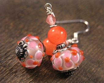 Orange and pink glass lamp work beads, cherry quartz stone and silver handmade earrings