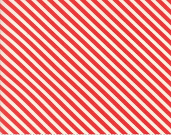 Handmade - Candy Stripe in Red: sku 55145-11 cotton quilting fabric by Bonnie and Camille for Moda Fabrics - 1 yard