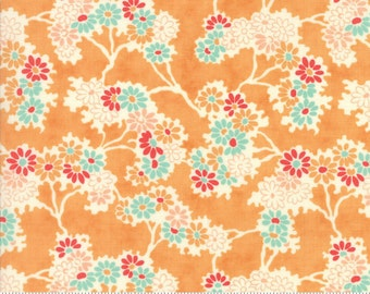 Chestnut Street - Twigs and Daisies in Pumpkin: sku 20271-12 cotton quilting fabric by Fig Tree and Co. for Moda Fabrics - 1 yard