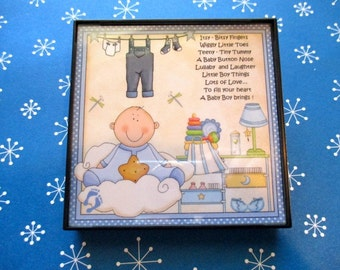 Framed Tile Expression:    ** Baby Boy **  Ready-to-Hang Home Decor