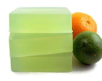 Lime Basil Mandarin Glycerin Soap Bar, Citrus Scented Body Soap