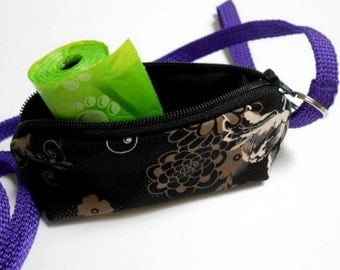 Dog Bag Holder Zipper Pouch with Key Ring ECO Friendly Padded  NEW Zephyr in Black