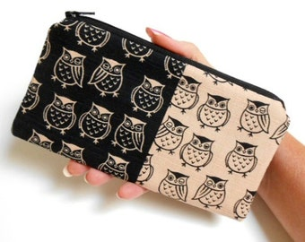 Zipper Pouch Smart Phone Pouch ECO Friendly Padded NEW SIZE Double Winked Owls Japanese Import Linen