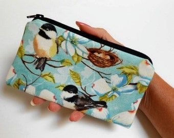 Zipper Pouch Smart Phone Pouch ECO Friendly Padded NEW SIZE Nesting Birds