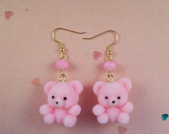 Flocked Teddy Bear Earrings
