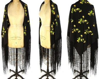 30s Piano Shawl / Vintage 1930s Flapper Shawl with Long Fringe / Antique Black Embroidered Silk Large Square Wrap with Yellow Flowers