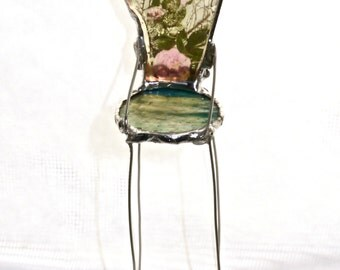 MIniature Art Chair - Roses of the Lake- One of a Kind Glass Chair - Translucid imagery on Glass