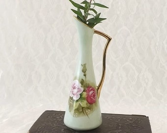 Lefton Miniature Bud Vase, Vintage Porcelain, Green Urn with Pink Roses & Gold Trim, Cottage Chic Decor