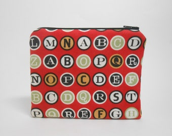 Coin Purse Typewriter Keys, Red Coin Purse, Padded Zipper Case