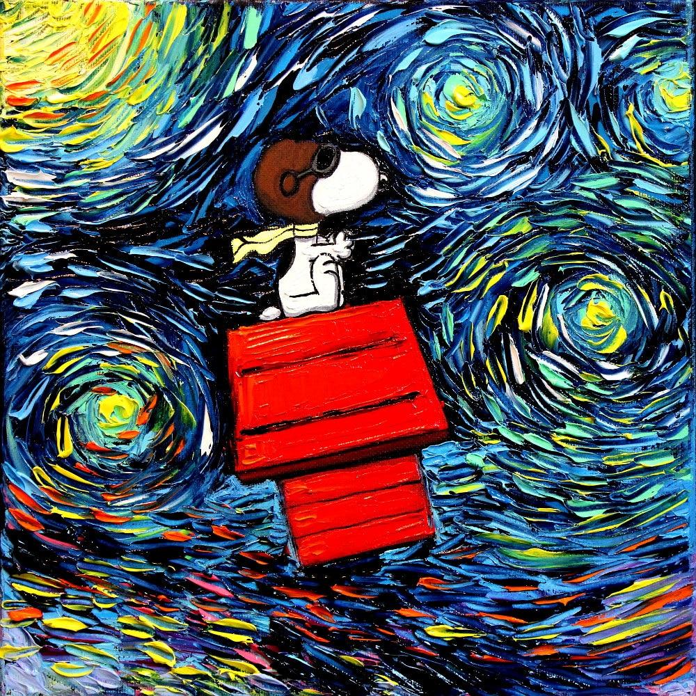 Snoopy art peanuts cartoon starry night print van gogh never for La notte stellata