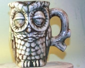 Handmade Ceramic Owl Mug in White, Brown, and Teal. Mug is perfect for coffee and tea.  Vintage mold in modern colors.