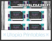 Flower Chevron Diaper Raffle Ticket Card Insert Baby Shower Teal Purple Floral Theme Party Digital Printable Aqua Blue Grey Print At Home