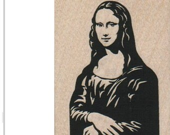 rubber stamp  Mona Lisa art stamps  craft supply number 2033 wood mounted, unmounted rubber or cling stamp