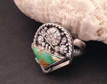 Turquoise and Sterling Silver Floral Bouquet Artisan Metalsmith Statement Ring, Size 8 1/4 Natural Royston Turquoise, Flower Basket Ring