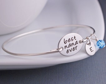 Nana Bracelets, Custom Engraved Gift for Nana, Silver Best Nana Ever Bracelet, Christmas Gift for Nana, Mother's Jewelry