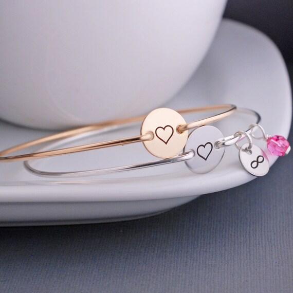 Bangle Bracelet, Heart Jewelry, Love Bracelet,  Heart Bangle Bracelet, Wife Gift for Anniversary