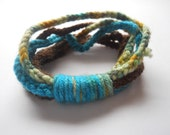 Brown Blue Yellow Multicolored Crochet Bracelet - Makes a Great Gift - Perfect for Teens and Young Adults - Great for Dressing Up