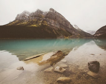 Mountain Photo, Canadian Landscape Photography, Nature Print, Lake Louise, Rustic Decor, Mountain Print, Canada Art - Hidden Depths
