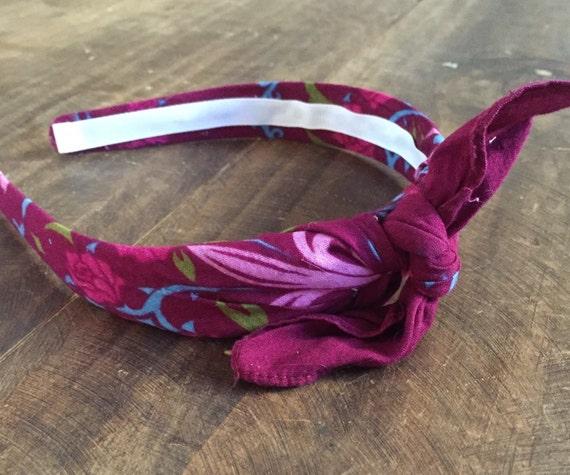 Bandana Knot Tie Headband Bandanna Head Wrap Rock Fashion Headband (MAGENTA)