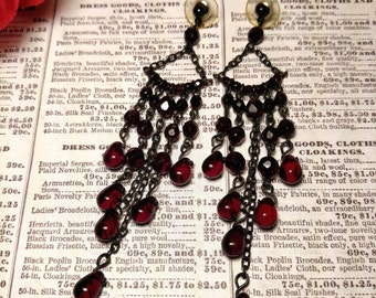 SALE TODAY Super Long Scarlet Red Glass Black Chain Earrings Chandelier Pierced Goth Gothic Shoulder Duster 3 and 3/4 Inches