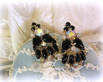 vintage jet and rhinestone earrings mid century clip ons black glass with crystal ab rhinestones