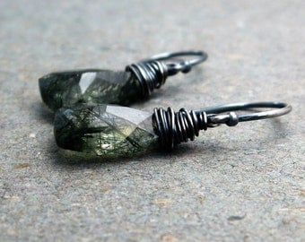 Green Rutilated Quartz Earrings Sterling Silver Oxidized Earrings Geometric Jewelry Triangle Earrings