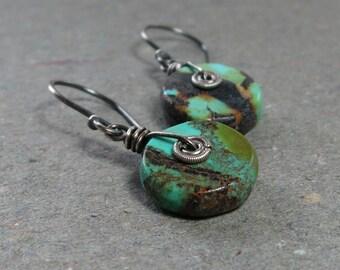 Turquoise Earrings Oxidized Sterling Silver Earrings Drop Earrings