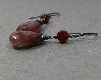 Copper Rutilated Quartz Earrings Carnelian Earrings Oxidized Sterling Silver Earrings Long Earrings Gift for Her