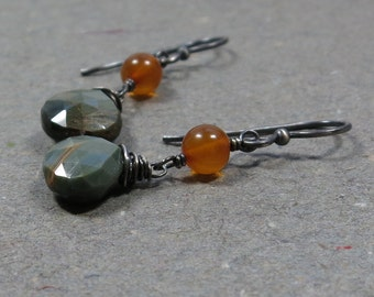 Cat's Eye, Amber Earrings Chrysoberyl Oxidized Sterling Silver Dangle Earrings Gift for Wife