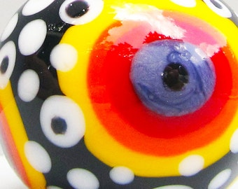 Black Hole Sun Bullseye Big Ball --Handmade Lampwork Bead