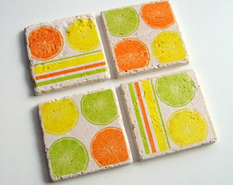Citrus Coasters - Tumbled Stone Earth Coasters - art papers, oranges, lemons, limes, fruit coasters, beverage coasters, home décor, gift