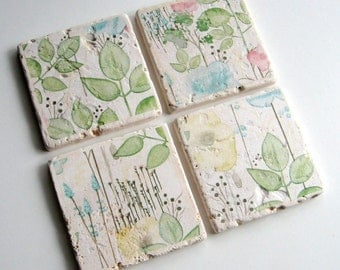 Tumbled Stone Earth Coasters - Spring in Bloom Coasters - art papers, pastel colors, botanical, tiles, home decor, natural, wedding gift