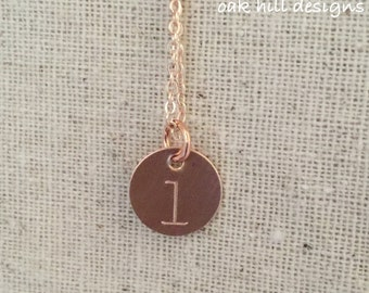 Single stamped initial necklace
