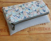 CUSTOM FOR PAULA Mini fold over clutch, zippered pouch, feathers