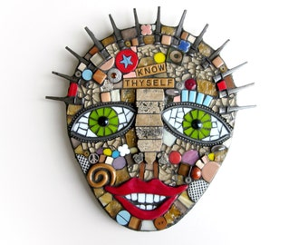 Know Thyself. (Handmade Mixed Media Mosaic Wall Art Piece by Shawn DuBois)