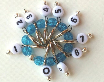 SnagFree Circular Row Counter Ring Style with Turquoise Crackle Glass Beads