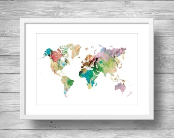 Rainbow watercolor world map print printable wall art printable art rainbow watercolor world map printable wall art printable geography wall art sciox Image collections