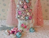 Bottle Brush Tree in a Vintage Pitcher - Shabby PINK ROSES!  OOAK