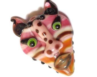 Pink Mask Necklace, 'Animalia' striped handmade Lampwork glass bead, animal face pendant, amulet, totem, focal bead, glassbead, SRAJD