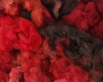 Red Centre - Spirit Spin Dyed Fibre Pack - Spinning Felting Weaving Fiber Polwarth Wool Fleece