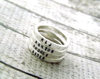 personalized ring, personalized stacking rings, stacking rings, sterling silver ring