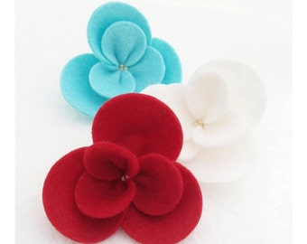 Large Wool Blend Felt Flowers - Holiday Collection