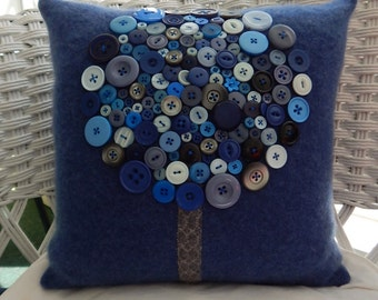 Suzy Recycled Cashmere Tree Pillow -  Blue, Grey, Cream and Black